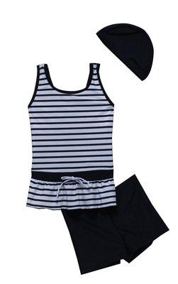 【 APPLE 】蘋果牌泳裝2020新品~女童白底藍條裝飾綁帶二件式泳衣 附泳帽 NO.109603