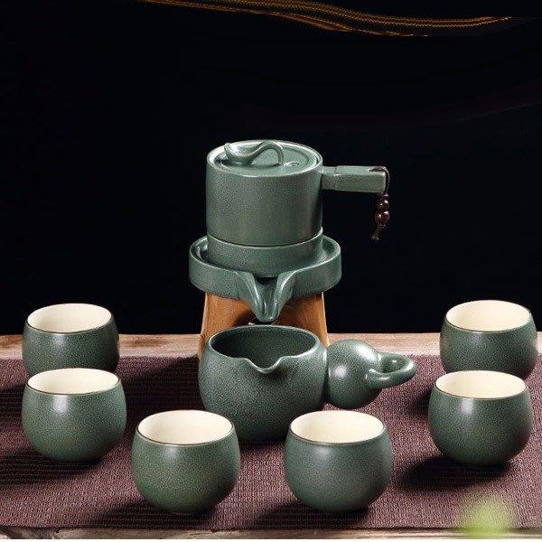 5Cgo【茗道】含稅537508914290 時來運轉石磨復古半自動茶具套裝懶人防燙功夫泡茶器茶壺茶海杯素雅葫蘆瓢