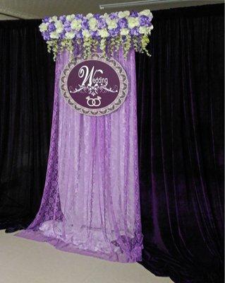 **蕾絲公主**婚禮佈置**浪漫紫羅蘭蕾絲布幔花藝風出租A款~