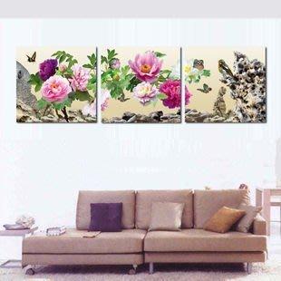 【優上精品】現代家居裝飾畫 客廳臥室無框畫 鳥語花香 牡丹掛畫 壁畫墻畫(Z-P3219)