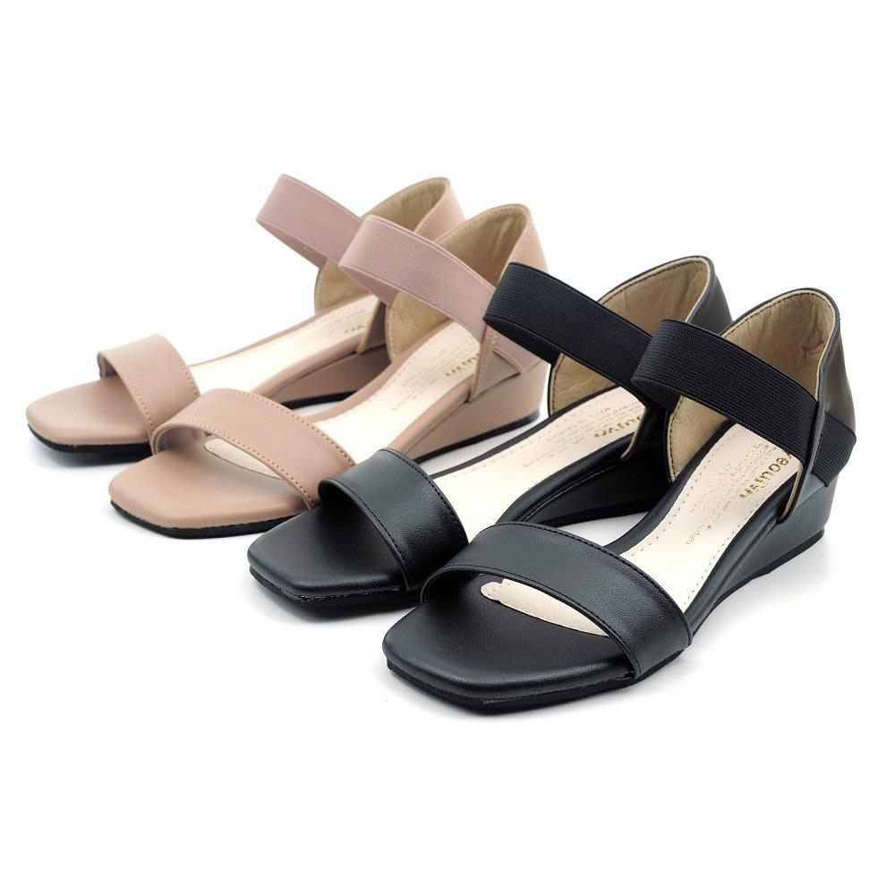 ❤含運❤鞋念 美人館 MIT一字鬆緊帶平底坡跟涼鞋-奶茶色/黑色-36-40碼 (6921-89)
