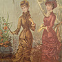 歐洲古物時尚雜貨 法國 仕女畫 二女一拿扇子掛畫 擺飾收藏品