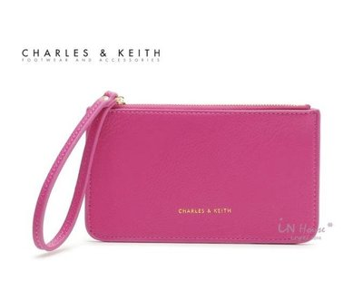 IN House* 新加坡小CK 簡約風 皮質手拿零錢包 證件卡包 手機袋 - 桃紅 (特價)