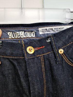 BLUE BLOOD 皮標LOGO 八分牛仔褲  pss 特價