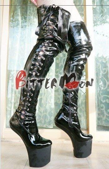 """無跟長靴 特殊鞋 """"西西莉亞""""新款後跟高25cm 超高無跟過膝長靴  貨號:66055 特價2800元"""