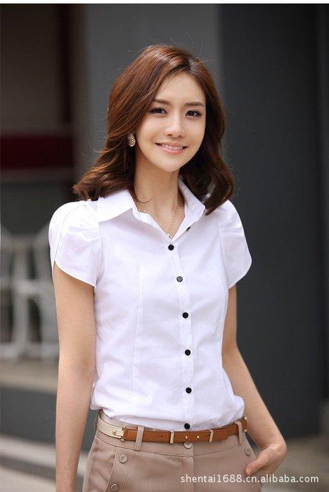 艾莉小舖~新款女裝 襯衫短袖 韓版修身襯衫 襯衣女短袖 OL職業裝~滿2千免運