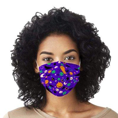 一次性口罩【10片裝】萬圣節訂制紫底月亮骷髏口罩成人印花一次性口罩3層民用