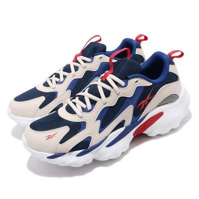 =CodE= REEBOK DMX SERIES 1000 復古皮革慢跑鞋(米白藍紅) DV8744 活氣墊 老爹鞋 男