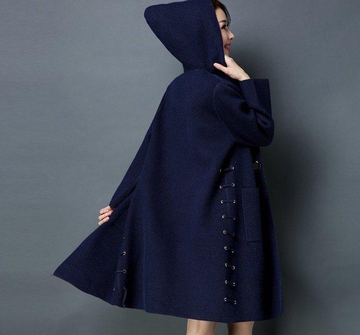~Linda~秋冬新款韓版連帽大衣女中長款加厚針織開衫時尚大碼寬鬆毛衣外套