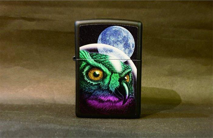 ONE*$1~*美系*ZIPPO*SPACE OWL 『太空貓頭鷹』霧黑/彩印*編號:29616
