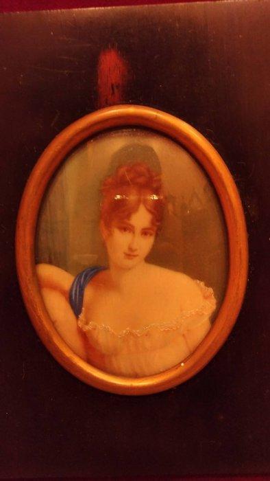 【家與收藏】特價極品珍藏歐洲百年古董法國古典精緻琺瑯手繪仕女肖像微型畫/掛畫擺飾