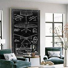 巨幅客廳裝飾畫玄關走廊掛畫豎版藝術微噴工業風飛機酒店過道壁畫(4款可選)