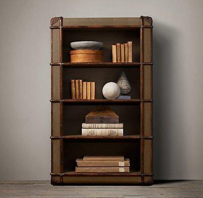 【台大復古家居】復古皮箱 書櫃 Richards' Trunk Bookcase 卡其帆布【客製化尺寸】RH 辦公
