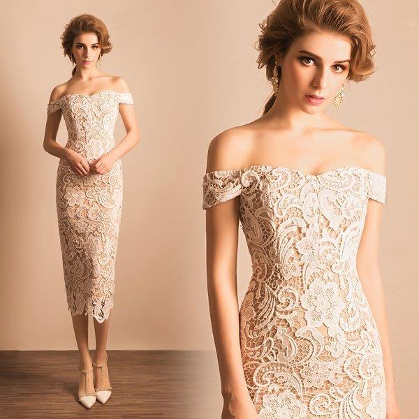 大小姐時尚精品屋~~仿明星款一字肩中長蕾絲晚會主持人婚紗禮服~3件免郵