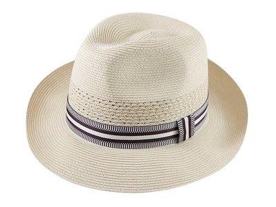 【二鹿帽飾】紳士PP男帽-加大款(咖啡條紋)卡其/ MIT/61cm頭圍 (廟會陣頭帽/南北管紳士帽/表演團體紳士帽)