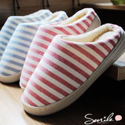 【X006】SMILE-時尚簡約.冬季條紋男女加厚防水厚底全棉布保暖居家包鞋