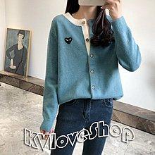 KVLOVE SHOP-T〥外單 好看拚色設計愛心刺繡舒適羊絨混紡針織外套 6色〥特價