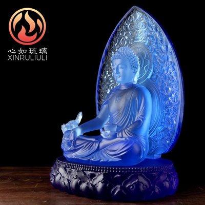 【玉寶軒】心如琉璃漢傳佛教琉璃背板背光藥師光如來佛像寺廟客廳供奉擺件