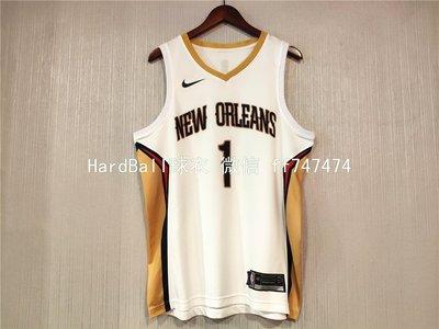 錫安·威廉森 (Zion Williamson) NBA新奧爾良鵜鶘隊 球衣 熱轉印款式1號 白色