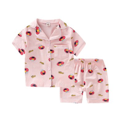 •*~ 辣媽咪衣飾小舖 ~*•❤童裝系列❤K950292韓版兒童夏款超可愛萌款『芝麻街』圖案家居服上衣+短褲二件套