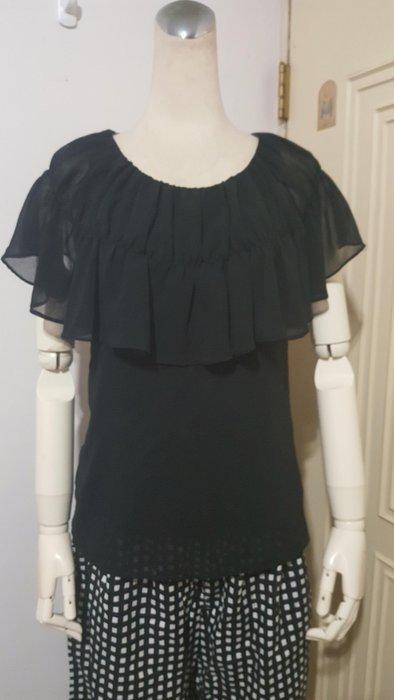 韓製精品黑色抽褶荷葉領雪紡衫(適S~M)*250元直購價*