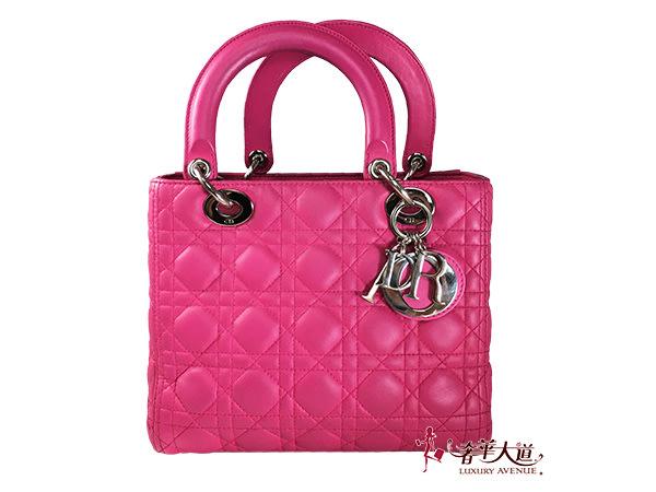 *奢華大道國際精品*【D0217】Christian Dior  桃紅色LADY小羊皮 5*5 經典黛妃兩用包