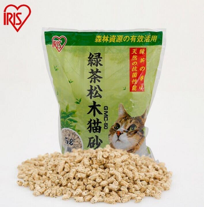 IRIS 綠茶松木砂 崩解型木屑沙 環保貓沙 松樹砂 火焚堆肥貓砂GMC-50(5L)整箱(共6包入)1,200元