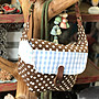 手作 手創 拼布 長方型 斜背/側背包 不撞包 手作包包 外出包 購物包 肩背包 禮物優惠 棕色點點 [玩泥巴]