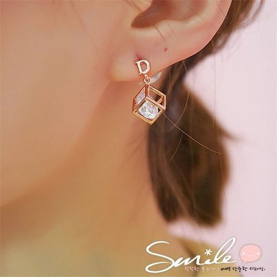 【DJA4109】SMILE-閃鋯石幾何體百變魔方耳環