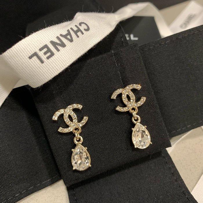 J-Shop Luxury 精品店 chanel 垂吊水鑽耳環