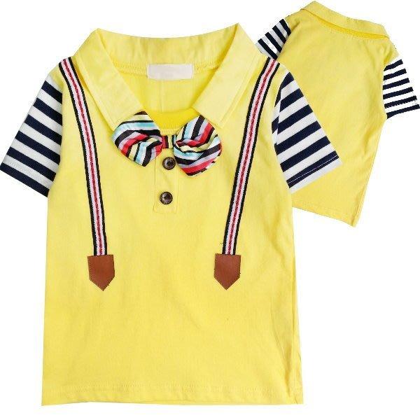 【班比納精品童裝】領結吊帶假兩件接橫條袖T-黃【BM150205068】