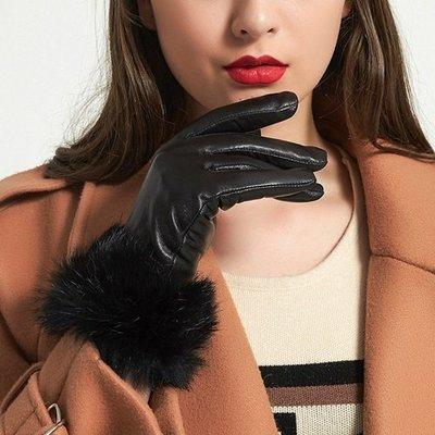 真皮手套 保暖手套-羊皮加絨兔毛腕口女手套3色73wm61[獨家進口][米蘭精品]
