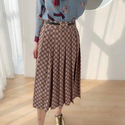 ✤寵愛Pamper for you✤Gucci 提花棕色百褶印花半身長裙