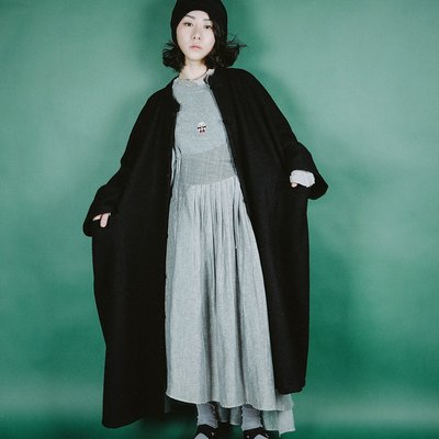 *菇涼家*春新蝙蝠袖毛呢大衣中國風盘扣暗黑大版长款羊毛外套