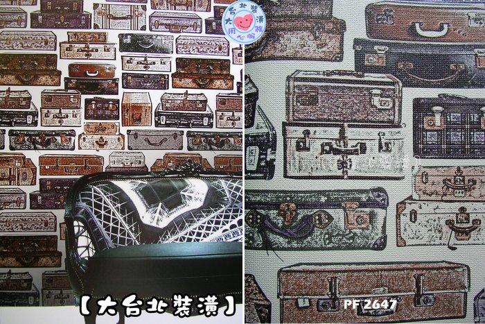 【大台北裝潢】PF進口現貨壁紙* 歡樂假期復古皮箱(2色) 每支750元