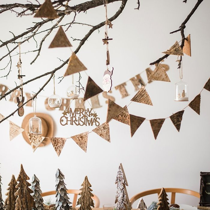 Merry Christmas派對旗三角旗子森系ZAKKA 聖誕裝飾掛件 聖誕節裝飾 聖誕禮物 新年佈置 掛飾 交換禮物