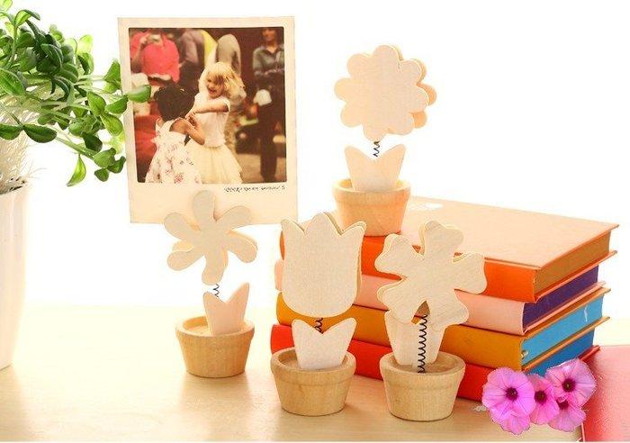 特價 聖誕 禮物 太陽花盆栽 木質可愛擺件 名片夾 照片夾 留言夾
