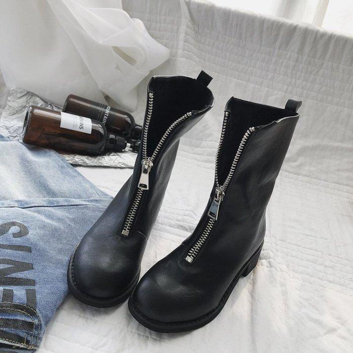 999短靴 靴子 馬丁靴 牛津靴  粗跟馬丁靴女韓版英倫風前拉鏈新款百搭中跟chic機車短靴女靴