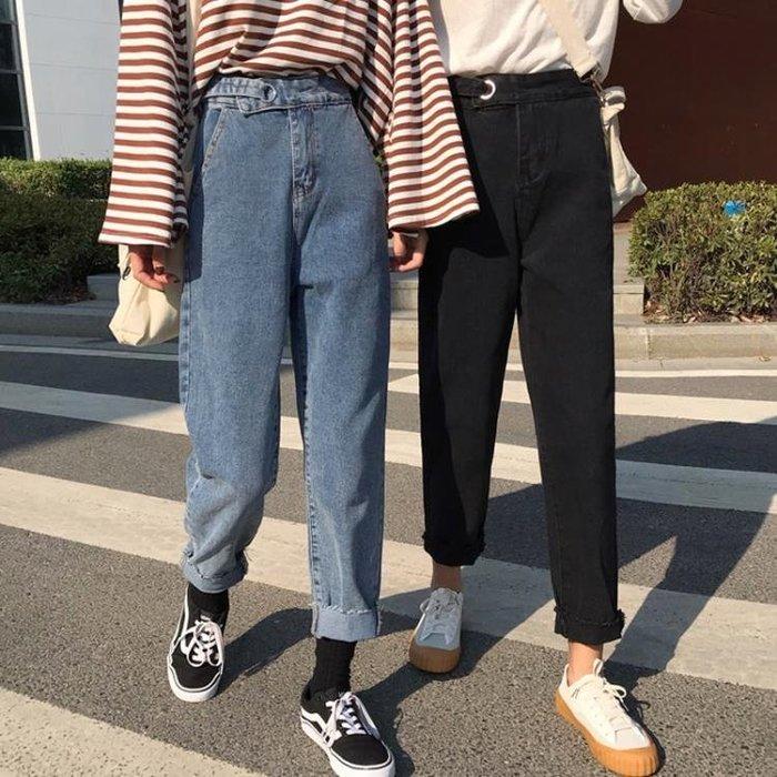 秋款女裝2018韓版新款百搭寬鬆水洗顯瘦直筒九分褲學生高腰牛仔褲