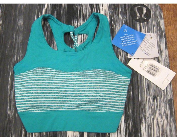 全新割愛~吊牌未拆!!Pure瑜珈服Lace Up Bra運動半截上衣(附胸墊)運動內衣bra/藍綠+藍綠細紋條紋款