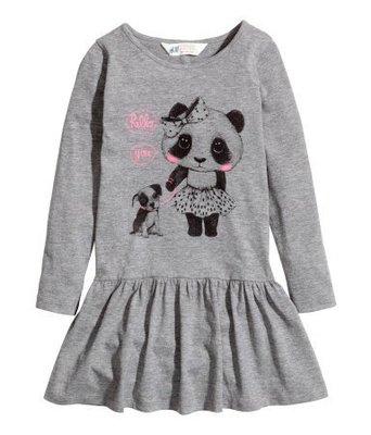 【可美童裝】瑞典H&M kids全新正品《純棉長袖洋裝, 灰色熊貓》2-4Y,現貨