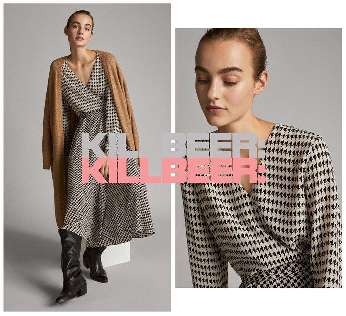 KillBeer:身為名媛的自傲之 歐美復古法式優雅黑白撞色千鳥格紋垂墜綁帶V領連身裙長洋裝010416
