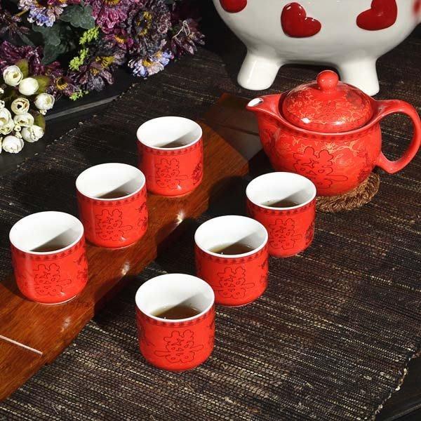 5Cgo【茗道】含稅會員有優惠 42431712975 景德鎮紅雙喜龍鳳瓷器紅色紅釉婚慶結婚禮品擺件茶具套裝過年用具