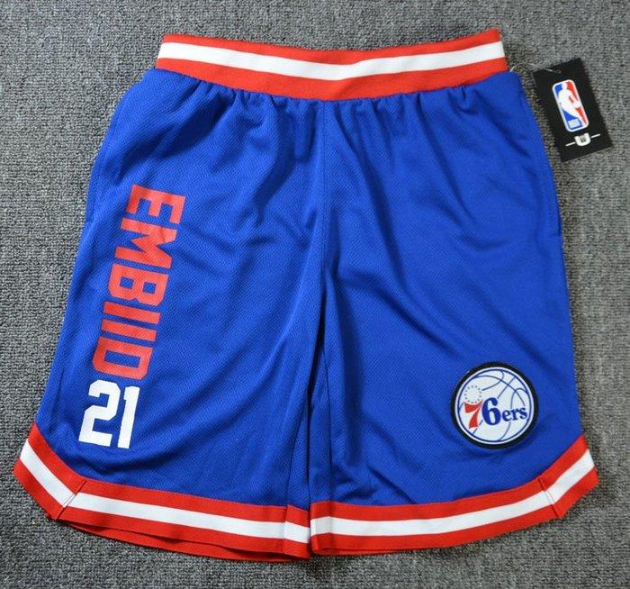 NBA籃球青年短褲 費城76人隊 EMBIID 口袋版 運動籃球褲 藍色 正版
