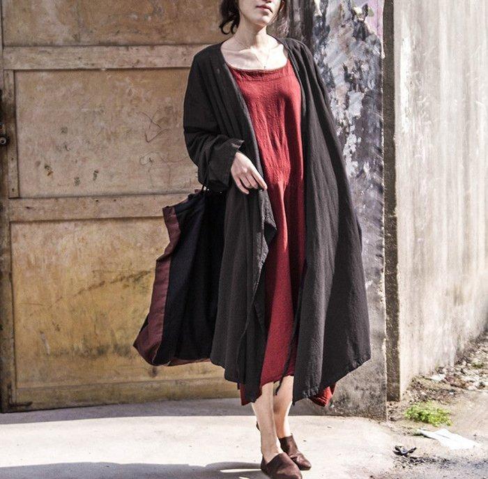 【子芸芳】原創設計復古文藝范棉麻大碼寬鬆顯瘦系帶中長款開衫外套風衣