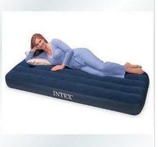 1#INTEX單人充氣床墊191*99*22公分,休閒床組租屋族出租房旅遊;彈簧床空氣床氣墊床絨布双人床