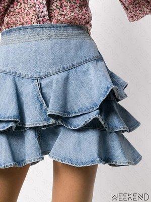 【WEEKEND】 WANDERING 拼接 堆疊 荷葉 牛仔 短裙 迷你裙 牛仔裙 藍色