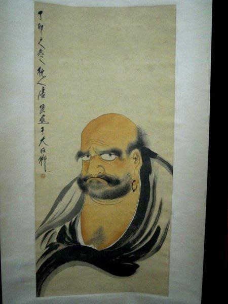 唐雲.達摩祖師像設色絹本立軸-法利堂-直購價560000元.保證真品
