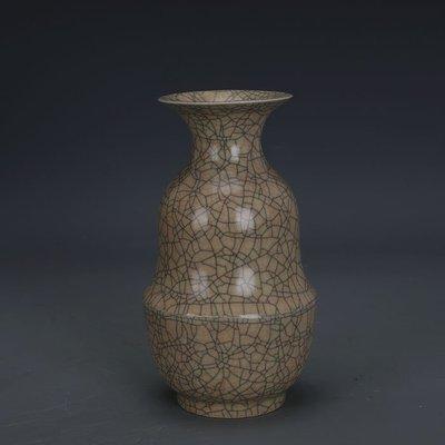 ㊣姥姥的寶藏㊣ 宋代哥窯金絲鐵線支釘折腰瓶  出土文物古瓷器 古玩古董收藏擺件