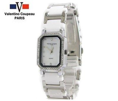 【JAYMIMI傑米】Valentino范倫鐵諾古柏陶瓷腕錶-水鑽外框-菱形切割鏡面-原廠公司貨 白